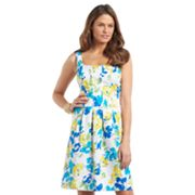 Chaps Floral Fit and Flare Dress
