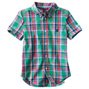 Chaps Yarn-Dyed Plaid Twill Button-Down Shirt - Boys 4-7