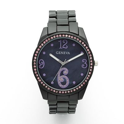 Geneva Black Simulated Crystal and Mother-of-pearl Watch - Women