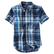 Chaps Yarn-Dyed Plaid Poplin Button-Down Shirt - Boys 4-7