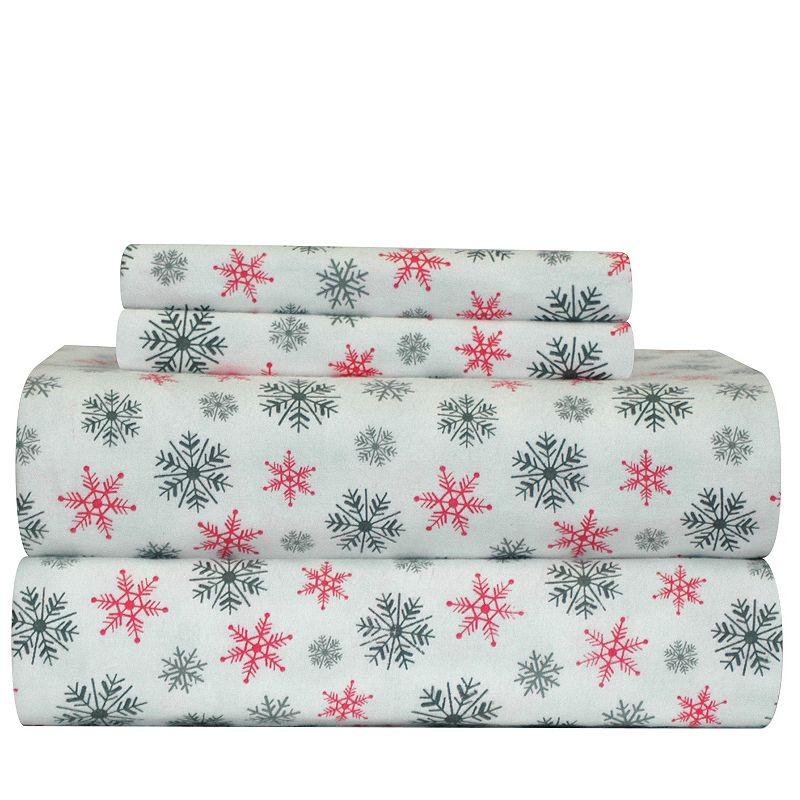 Pointehaven Snowflake Flannel Sheet Set - Full