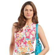 Chaps Floral Shirred Top - Petite