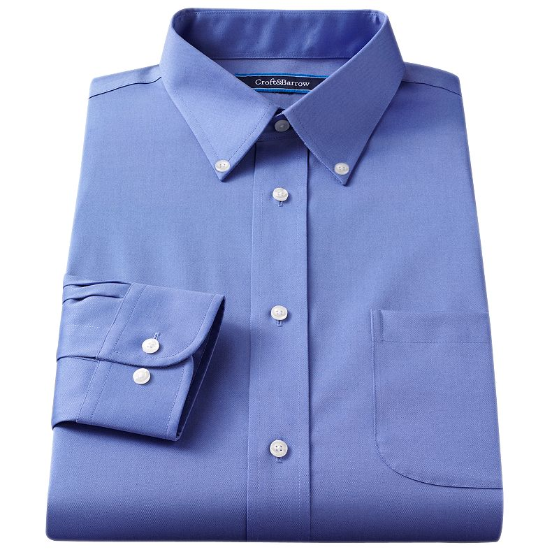 Croft & Barrow Fitted Solid Broadcloth Button-Down Collar Dress Shirt - Men (Blue)