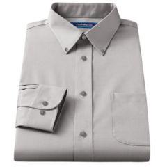 Mens Grey Button Down Collar Dress Shirts Long Sleeve Clothing ...