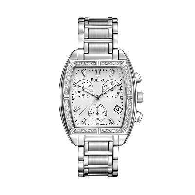 Bulova Highbridge Stainless Steel Diamond Accent Chronograph Watch - 96R163 - Women