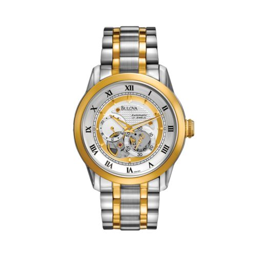 Bulova Two Tone Stainless Steel Automatic Skeleton Watch - 98A123 - Men