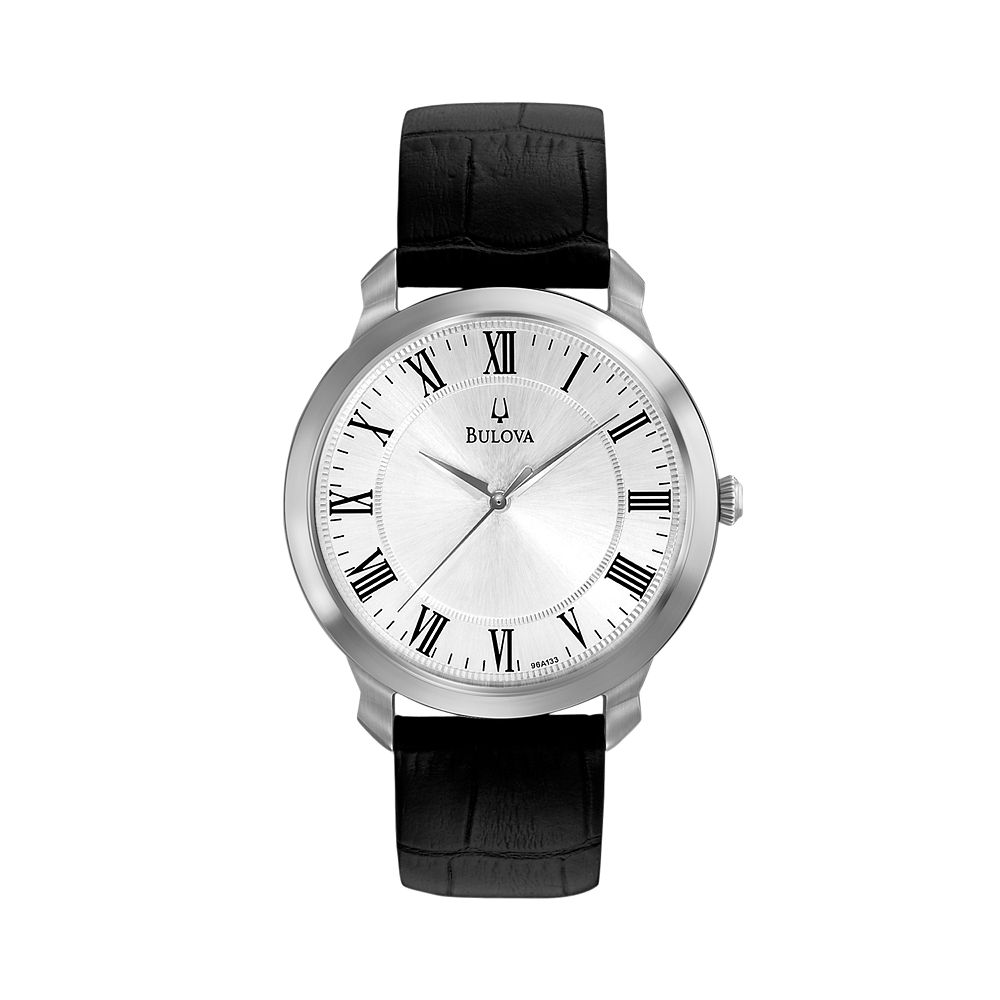 stainless steel leather watch 96a133 men bulova stainless steel leather watch 96a133 men
