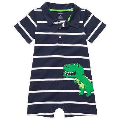 Carter's Dinosaur Striped Polo Romper - Baby