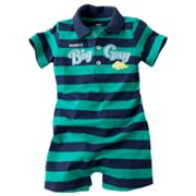 Carter's Striped Mommy's Big Guy Polo Romper - Baby