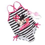Disney Mickey Mouse and Friends Minnie Mouse Striped One-Piece Swimsuit - Girls 4-6x