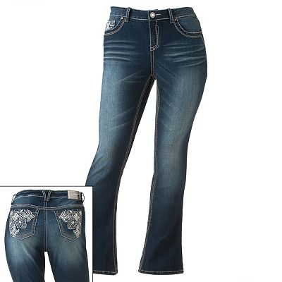 Hydraulic Stud Bootcut Jeans - Juniors' Plus