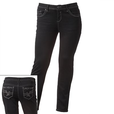 Hydraulic Rhinestone Super Skinny Jeans - Juniors' Plus