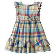 Chaps Ruffled Plaid Dress - Toddler
