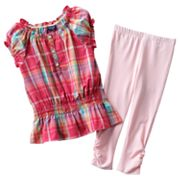 Chaps Plaid Ruffle Top and Leggings Set - Toddler