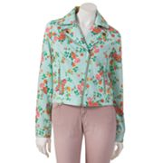 Candie's Denim Floral Moto Jacket - Juniors