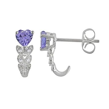 10k White Gold Tanzanite & Diamond Accent Heart Drop Earrings