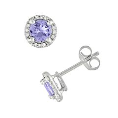 10k White Gold Tanzanite & Diamond Accent Frame Stud Earrings