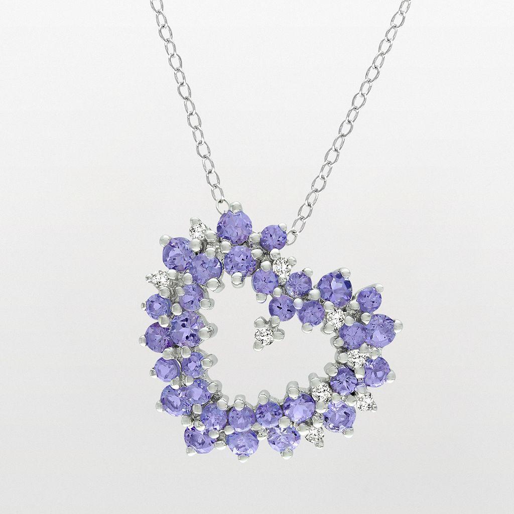 Sterling Silver 1/8-ct. T.W. Diamond & Tanzanite Heart Pendant