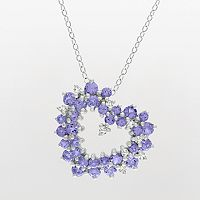 Sterling Silver 1/8-ct. T.W. Diamond & Tanzanite Heart Pendant