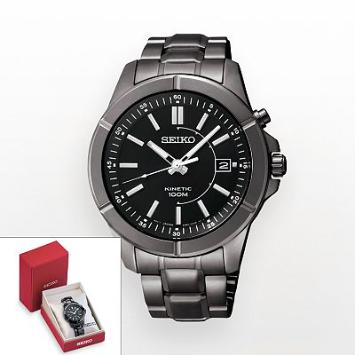 Seiko Black Kinetic Watch - SKA547 - Men