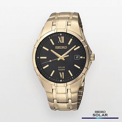 Seiko Gold Tone Solar Watch - SNE220 - Men