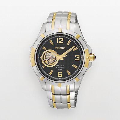 Seiko Two Tone Automatic Skeleton Watch - SRP318 - Men