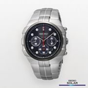 Seiko Solar Silver Tone Chronograph Watch - SSC089 - Men
