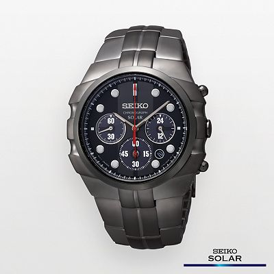 Seiko Solar Black Chronograph Watch - SSC091 - Men