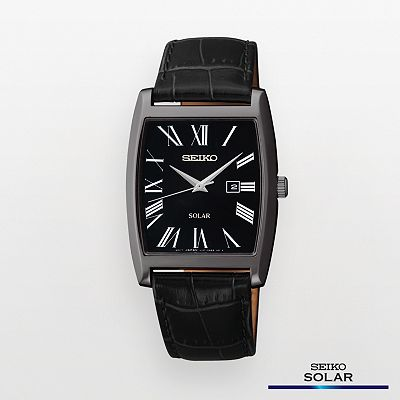 Seiko Black Leather Solar Watch - SUT887 - Men
