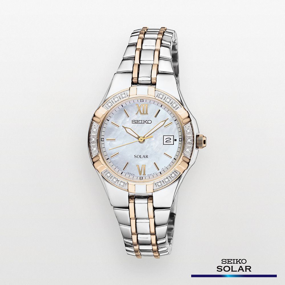 Seiko Women s Two Tone Stainless Steel Solar Watch - SUT068 a8a5296ed