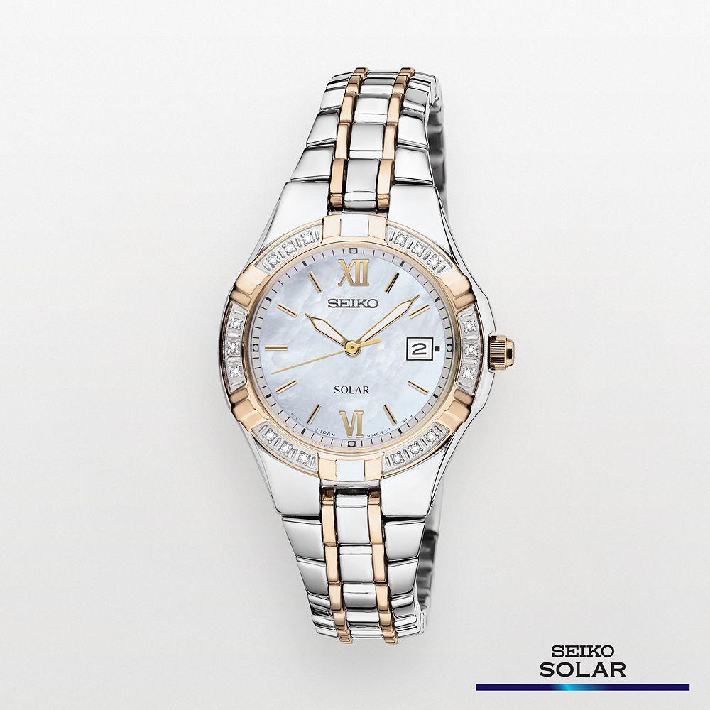 Seiko Women's Two Tone Stainless Steel Solar Watch - SUT068