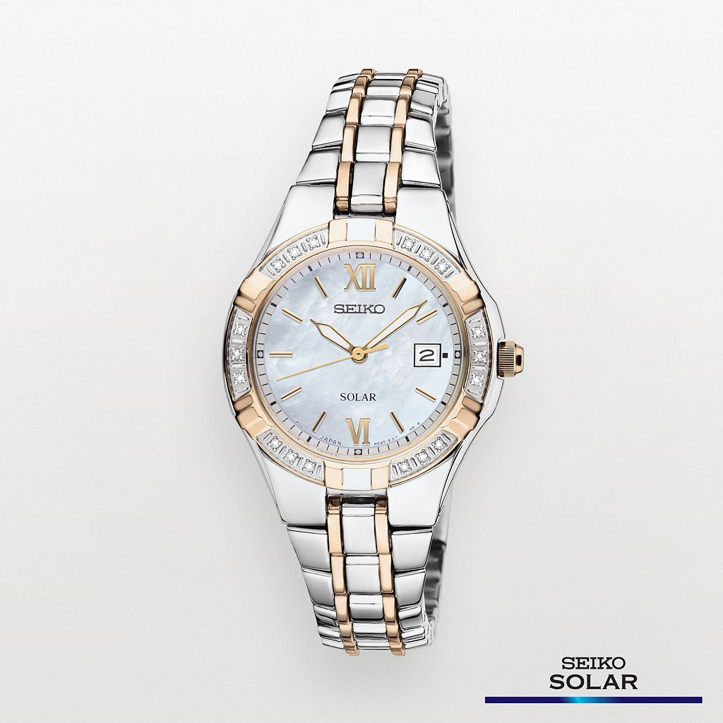 Seiko Women's Two Tone Stainless Steel Solar Watch - SUT068