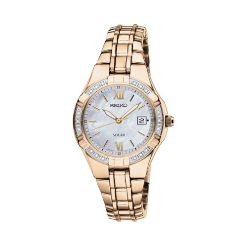 Seiko Solar Gold Tone Diamond Accent and Mother-of-Pearl Watch - SUT070 - Women