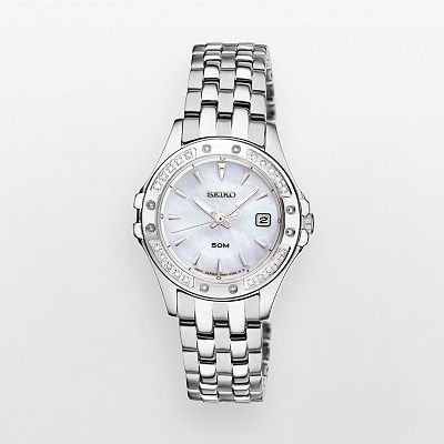 Seiko Silver Tone Diamond Accent and Mother-of-Pearl Watch - SXDE83 - Women