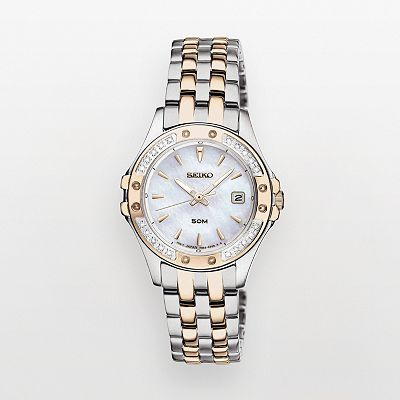 Seiko Two Tone Diamond Accent and Mother-of-Pearl Watch - SXDE84 - Women
