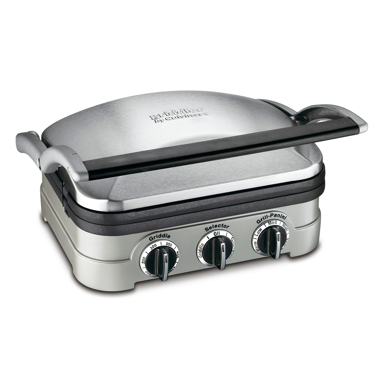 Cuisinart GR 4N 5 in 1 Silver Griddler Black Dials and Waffle Plates Bundle