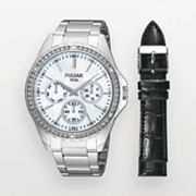 Pulsar Silver Tone Crystal and Mother-of-Pearl Interchangeable Watch Set - Made with Swarovski Elements - PP6049 - Women