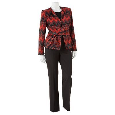 Signature by Larry Levine Chevron Suit Jacket and Pant Set