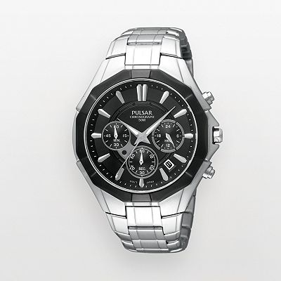 Pulsar Silver Tone Chronograph Watch - PT3201 - Men