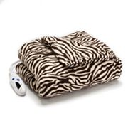 Biddeford Zebra Plush Electric Throw