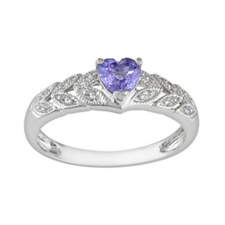 10k White Gold Tanzanite and Diamond Accent Heart Ring