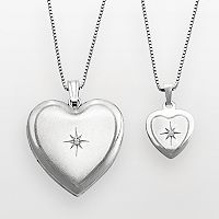 Sterling Silver Diamond Accent Heart Locket & Pendant Set