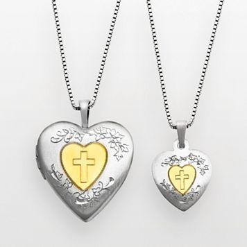 14k Gold Over Silver & Sterling Silver Cross Heart Locket & Pendant Set