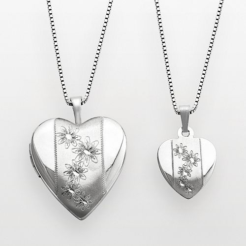 Sterling Silver Flower Heart Locket & Pendant Set