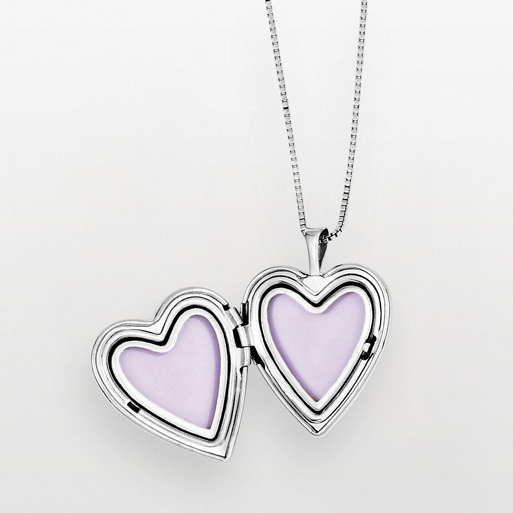 Sterling Silver Flower Heart Locket & Pendant Set