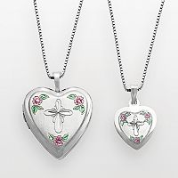 Sterling Silver Cross & Flower Heart Locket & Pendant Set