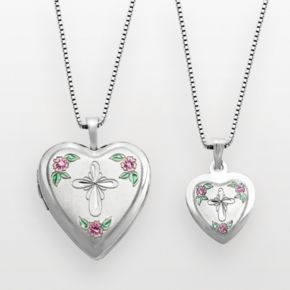 Sterling Silver Cross & Flower Heart Locket & Pendant Set