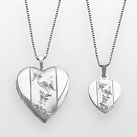 Sterling Silver Butterfly Heart Locket & Pendant Set