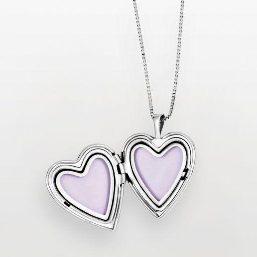 Sterling Silver Butterfly Heart Locket & Pendant Set