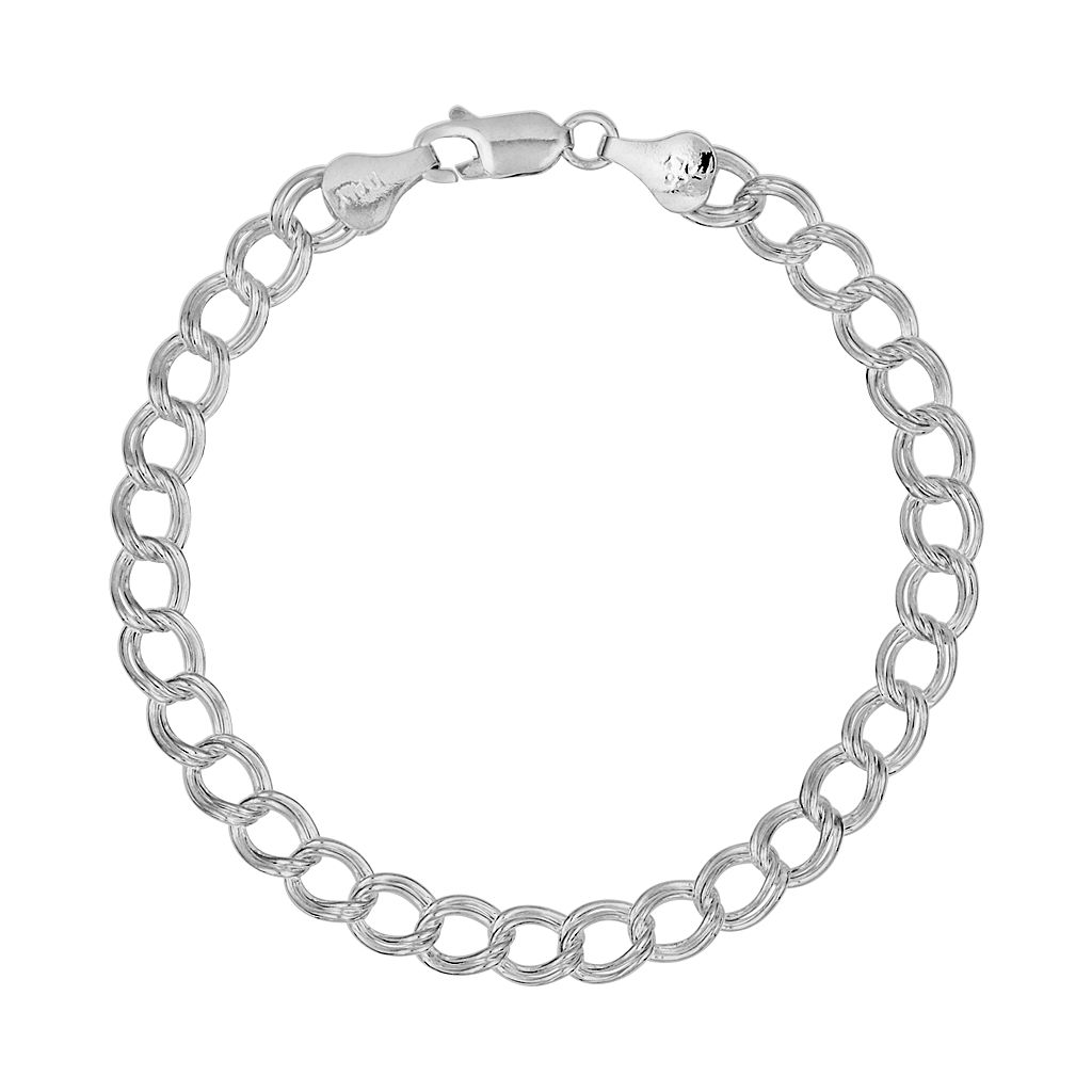 Sterling Silver Double Link Curb Chain Bracelet - 7-in.